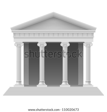 Portico an ancient temple. Colonnade. Illustration on white - stock vector