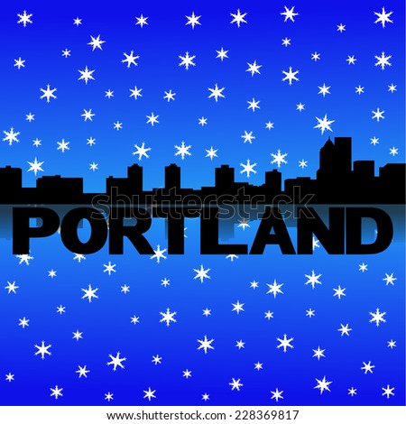 Portland skyline reflected with snow vector illustration - stock vector