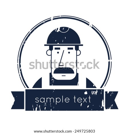 Portrait builder. Modern flat style vector illustration. Builder character. Vintage. Creating logo design. - stock vector
