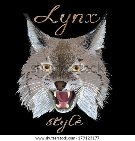 Portrait lynx head, with the inscription Lynx style, isolated on black background - stock vector