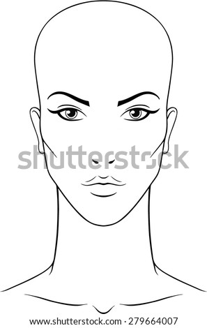 Portrait of a beautiful bald girl - stock vector