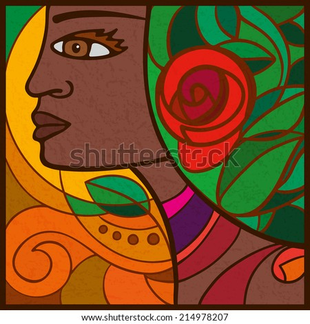Portrait of a girl from Cape Verde, Africa  Abstract face African girl in profile with flowers on her head. - stock vector