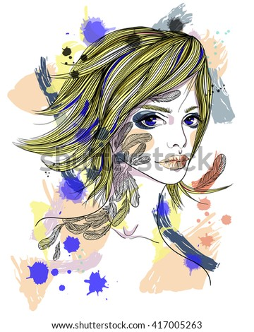 Portrait of a girl with a tattoo. The girl-bird on abstract background. Fashion illustration. Print for T-shirt - stock vector