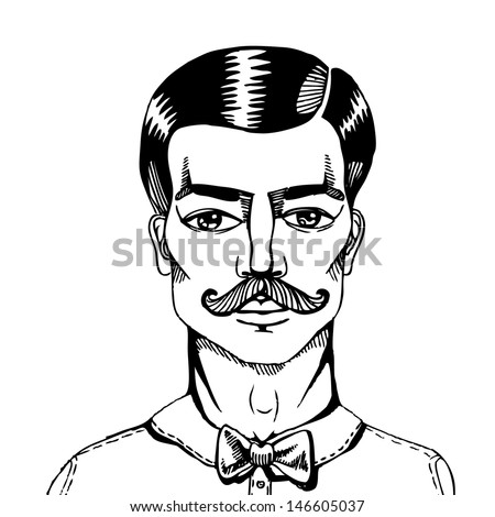 Portrait of a man whit a moustache. Vector illustration. Hipster style. - stock vector