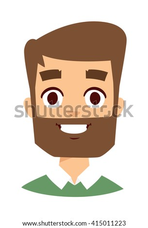 Portrait of a smiling man, isolated on a white background. Happy man face vector icon and happy man face cute flat avatar adult person. Happy man face handsome guy attractive casual man. - stock vector