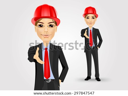 portrait of a successful male engineer giving a hand for handshake - stock vector