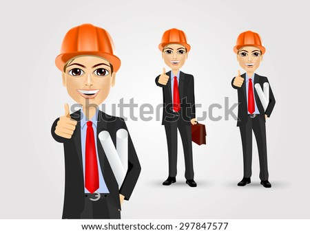portrait of a successful male engineer holding blueprints giving thumbs up - stock vector