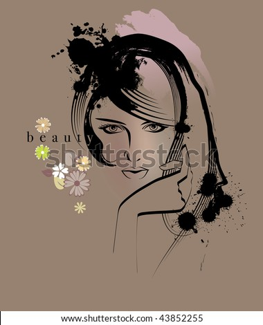 Portrait of a young beauty woman - stock vector