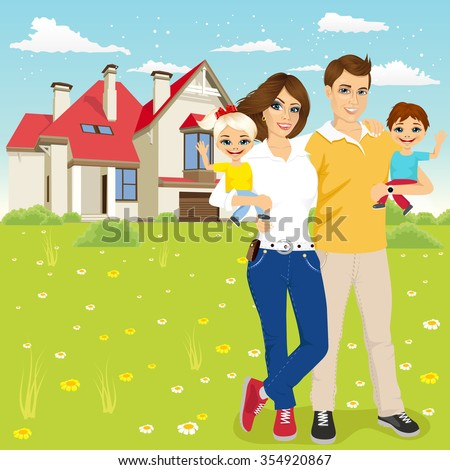 Portrait of a young family with mother, father, son and daugther outside in front of new house - stock vector