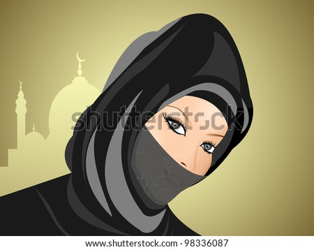 Portrait of a young muslim women in hijab. Vector illustration in EPS 10. - stock vector