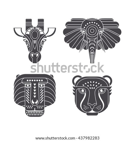 Portrait of african animals made in ornate vector style. Giraffe, elephant, monkey, cheetah. Safari label or t-shirt design with cute animal character. - stock vector