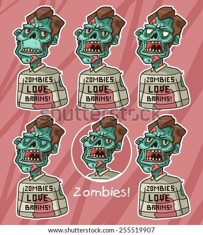 portrait of an angry hipster zombies in a sweater set - stock vector