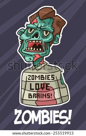portrait of an angry zombie in a sweater - stock vector