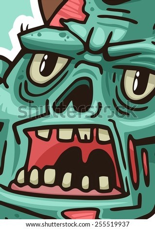 portrait of an angry zombie poster - stock vector