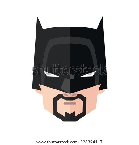 Portrait of angry man in superhero mask. Flat vector illustration isolated on white background. - stock vector