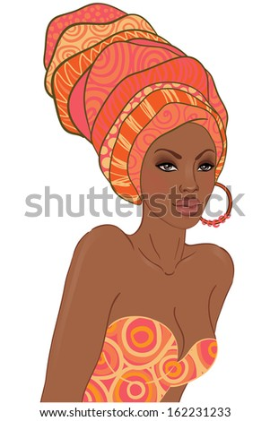 Portrait of beautiful African American woman in turban - stock vector