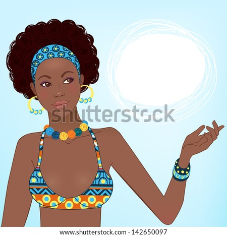 Portrait of beautiful African woman in ornate bikini with earrings and necklace - stock vector