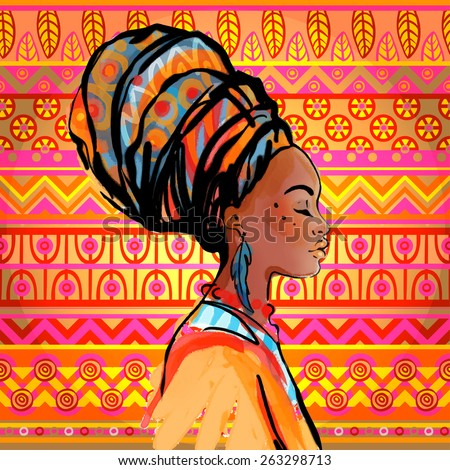 Portrait of beautiful African woman with earring (profile view) over ethnic style pattern - stock vector
