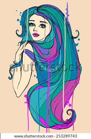portrait of beautiful girl with long hair, hand drawn illustration - stock vector