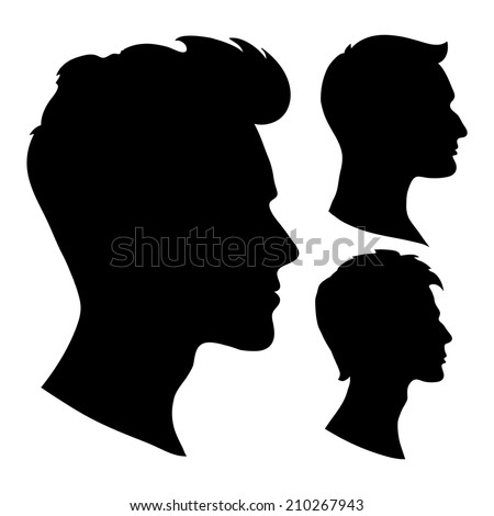 portrait of beautiful man with a hairstyle, in profile, isolated outline silhouette - vector illustrations set - stock vector