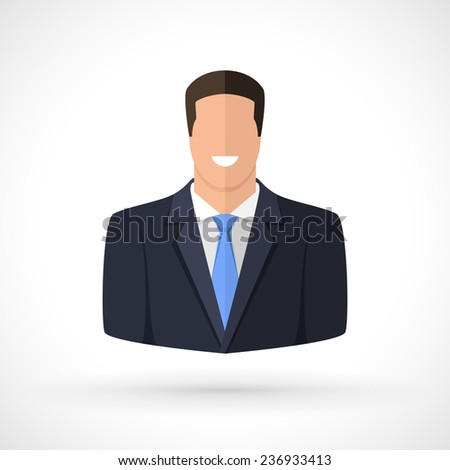 Portrait of confident businessman. Avatar for successful man. - stock vector