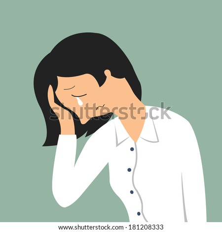 Portrait of crying businesswoman in sad feeling and emotional concept - stock vector