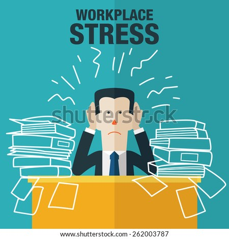 Portrait of exhausted businessman in office. Workplace stress. - stock vector