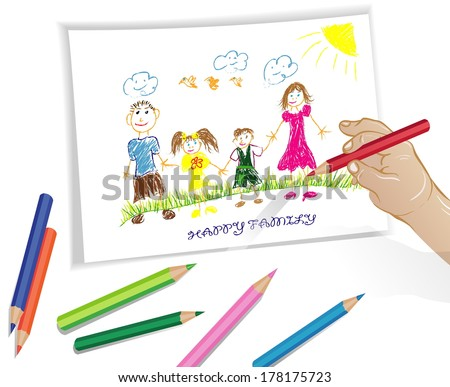 Portrait of four member family posing together smiling happy, child's drawing - stock vector