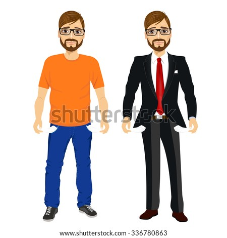portrait of handsome young man with glasses in two different outfit styles showing empty pockets. Concept - stock vector