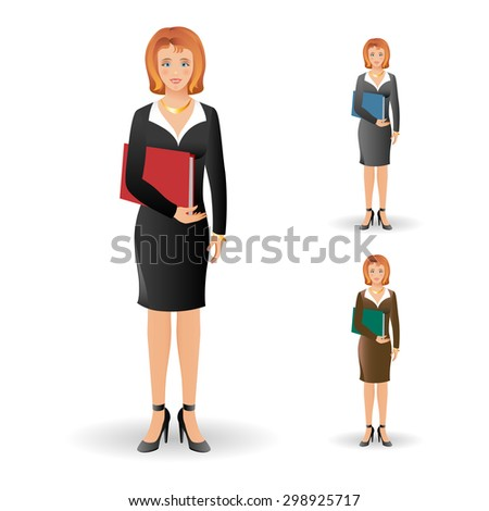 Portrait of happy smiling business woman wearing a suit, smiling, standing and holding folder. Realistic image. Full body woman isolated on white background. Vector illustration.  - stock vector