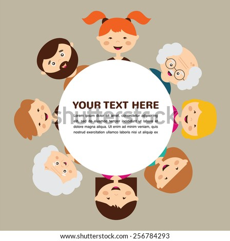 Portrait of happy stylish family. Parents and kids.  vector illustration - stock vector