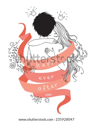 "Portrait of hugging young couple wrapped by red ribbon with words ""happy ever after"". Vector children book style hand drawn illustration isolated on white background for greeting card or invitation - stock vector"