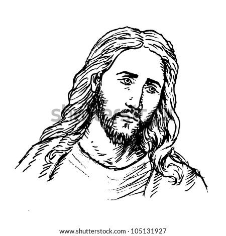 Portrait of Jesus - stock vector