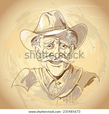 Portrait of laughing old  cowboy. Vintage style vector illustration. - stock vector