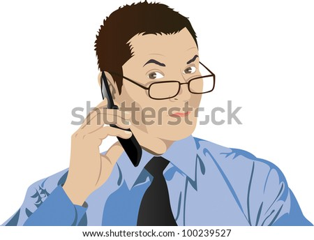 portrait of man in glasses with a cell phone - stock vector