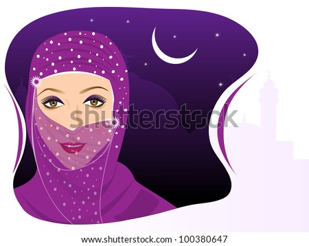 Portrait of muslim beautiful girl in hijab on night background and space for your text. EPS 10. Vector illustration. - stock vector