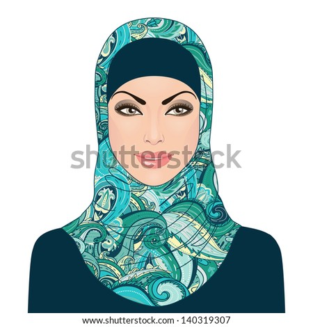 Portrait of muslim beautiful girl in patterned hijab, vector illustration, isolated on white. - stock vector