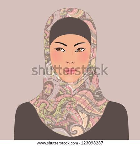 Portrait of muslim beautiful oriental girl in patterned hijab, vector illustration - stock vector