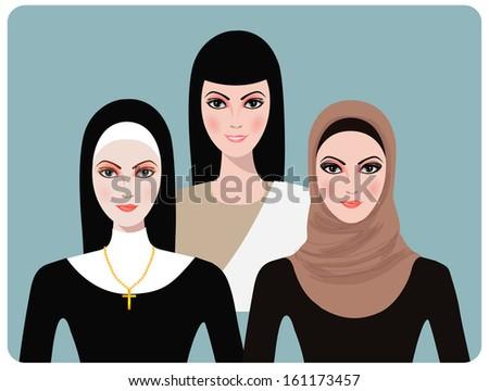 Portrait of muslim, nun and asian beautiful girl. - stock vector