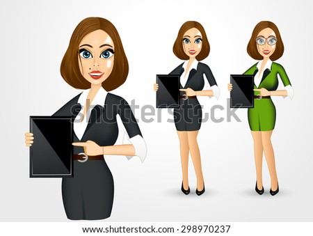 portrait of realistic businesswoman pointing her index finger to the tablet - stock vector