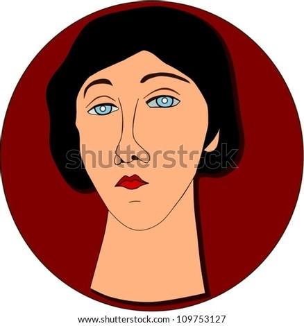 Portrait of sad woman. - stock vector
