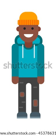Portrait of school aged afro american boy child isolated on white. Handsome child afro american boy happy casual people. Smile and beautiful education afro american boy flat character vector. - stock vector