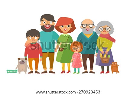 Portrait of six member happy stylish family posing together. Parents with kids, grandmother, grandfather, dog and cat. Vector colorful illustration in flat design isolated on white - stock vector