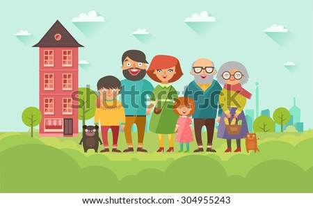 Portrait of six member happy stylish family posing together with house on background. Parents with kids, grandmother, grandfather, dog and cat. Vector colorful illustration in flat design - stock vector
