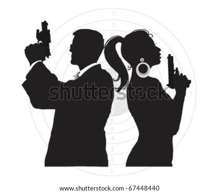 Portrait of  Special agents with weapon. - stock vector