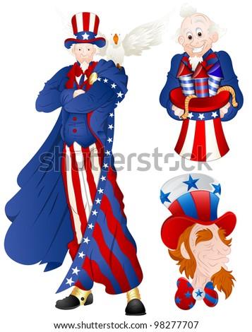 Portrait of Uncle Sam Vector Illustration - stock vector