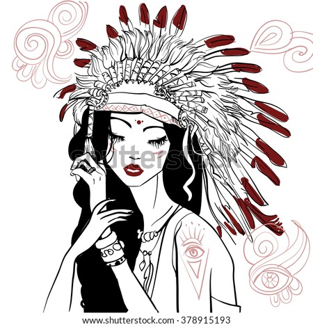portrait of young beautiful native american woman  - stock vector