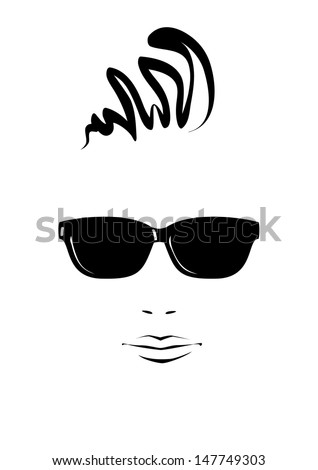Portrait of young man in black sunglasses. Vector version. - stock vector