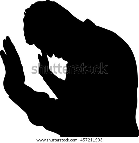 portrait one sad man standing near a wall, Desperate man in silhouette on white background - stock vector
