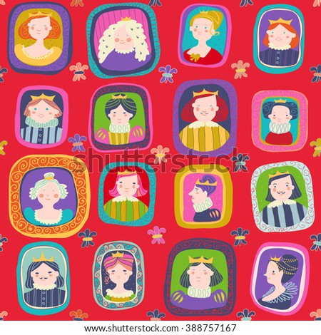 portraits of princes and princesses on a red background - stock vector